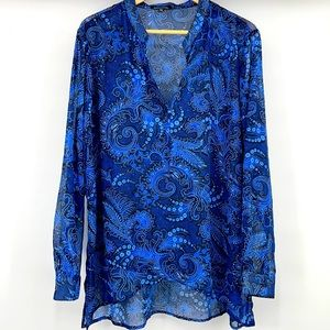 Notations Long Sleeve Blue Sparkle Glitter Blouse